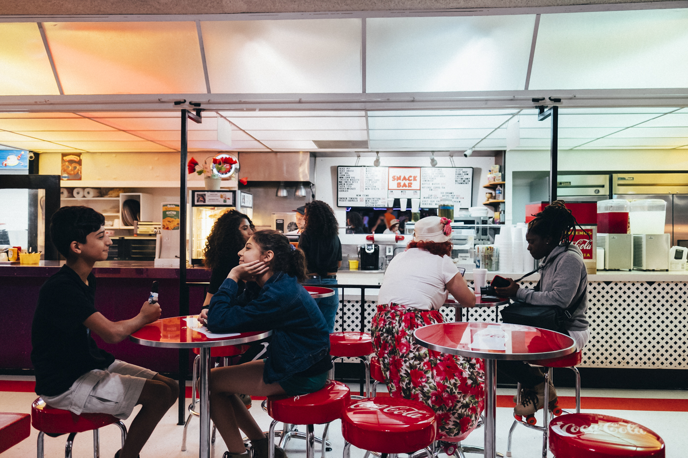 """The snack bar is an authentic replica of the 1950s: """"We sell hot dogs, pizzas, nachos, corornos and funnel cakes,"""" said Cangelosi"""