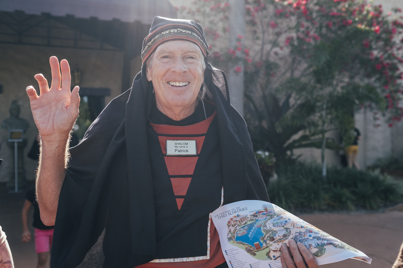 "Patrick welcomes you to the entrance of Holy Land by ""Shalom"" very enthusiastic, while holding out to you the program of the day."